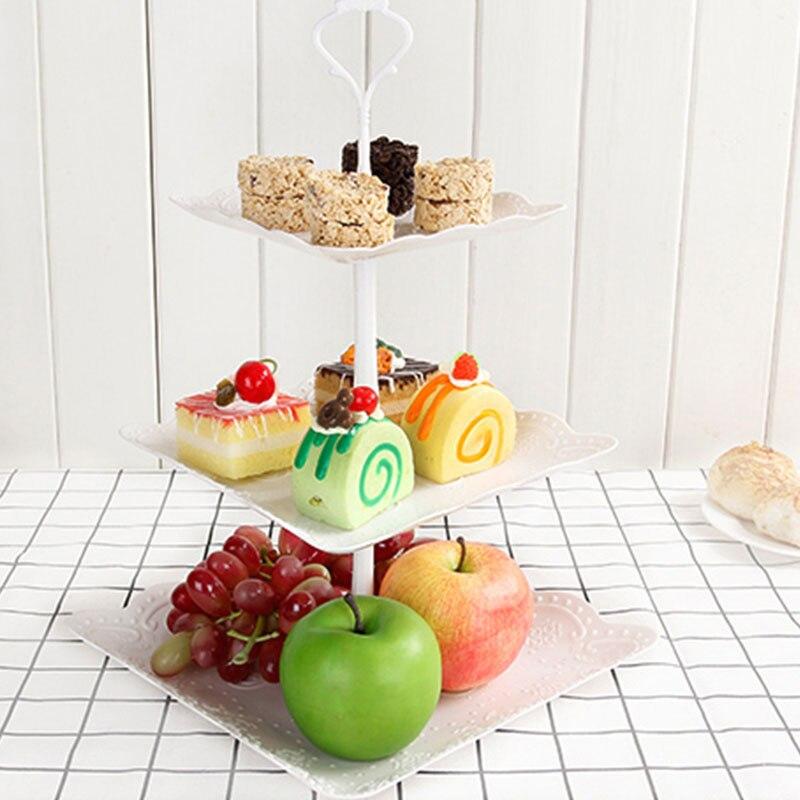 Prato de frutas Bolo Top 3-tier Rack de Legumes para Casamentos Tea Party Férias Jantares ou Festas de Aniversário Redondo G1