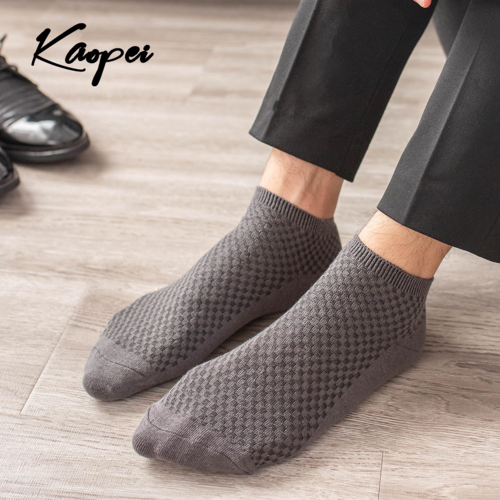 1 пара, мужские носки из бамбукового волокна, деловые мягкие дышащие носки по щиколотку, мужские высококачественные носки, удобные короткие ...