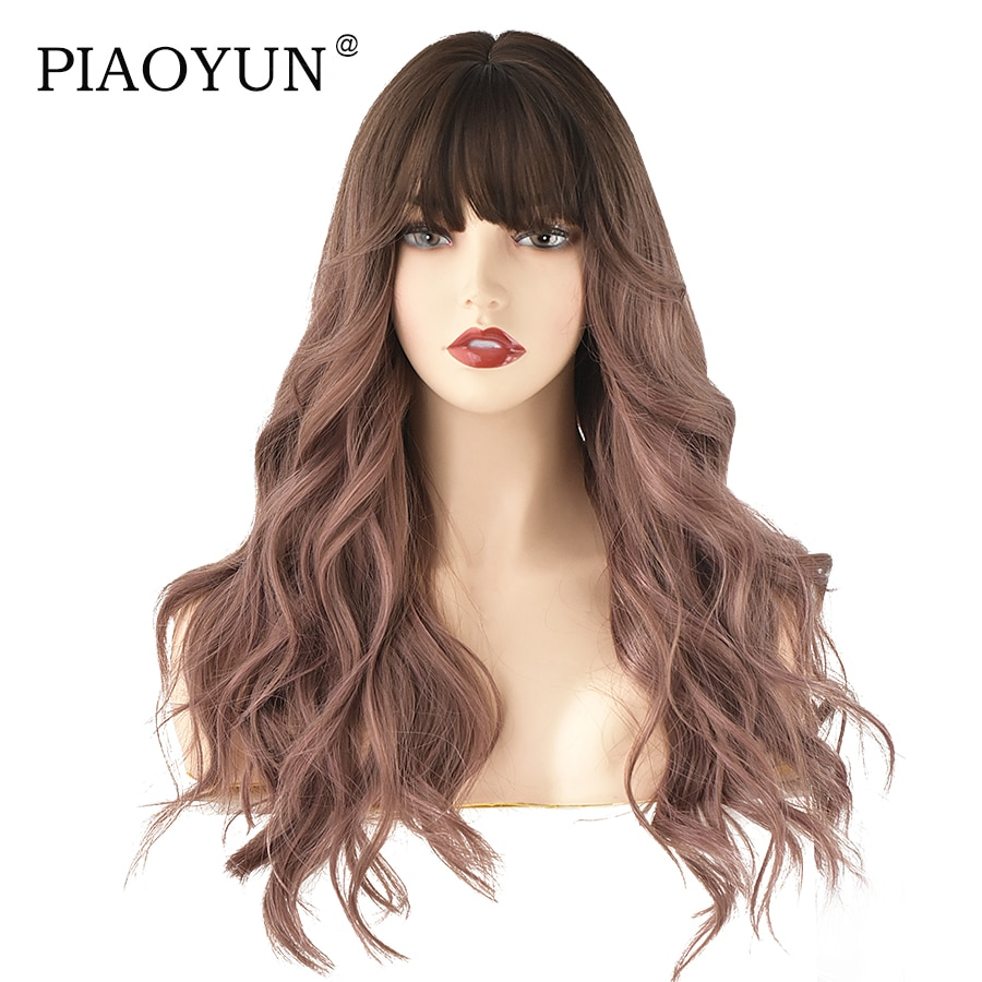 Pink Brown Long Wavy Wig European Hot Sale Women Fashion New Year Gift Synthetic Wig Wholesale