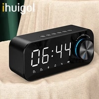 ihuigol multifunction wireless bluetooth speaker portable column led digital mirror alarm clock fm radio tf card aux charge mic
