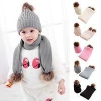 1 4 years baby winter warm set children newborn solid color acrylic scarf knitted hat 2 piece set toddler baby fashion scarf hat