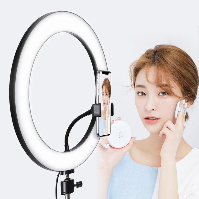 Iluminação fotográfica com led, carregamento usb, anel de luz para selfie, espátula, lâmpada de preenchimento de luz, 3 ajustável, tripé de brilho