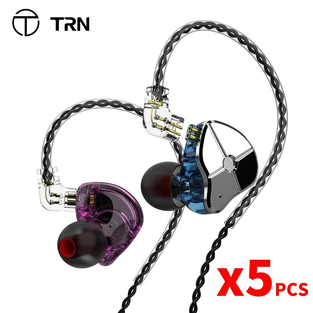 Гибридные наушники-вкладыши TRN ST1 1DD 1BA, Hi-Fi DJ монитор, спортивные наушники для бега, наушники-вкладыши, гарнитура с кабелем QDC TRN V90 BA5