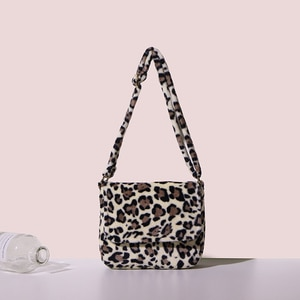 Fashion fur Leopard Messenger Bags for Women Brand Decoration Ladies Party Handbags Purses Luxury Leather Shoulder Hand Bag