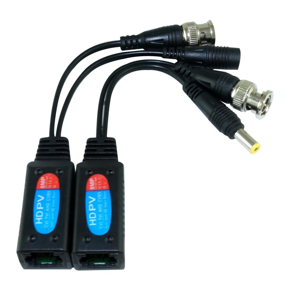 100 Pairs 8MP Passive CCTV Video Balun Transceiver Connectors to RJ45 BNC male for CCTV Surveillance Camera enlarge