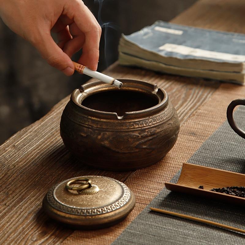 Chinese Ceramic Ashtray Retro Domestic Coffee Table Living Room Tea Table Office Ashtrays enlarge