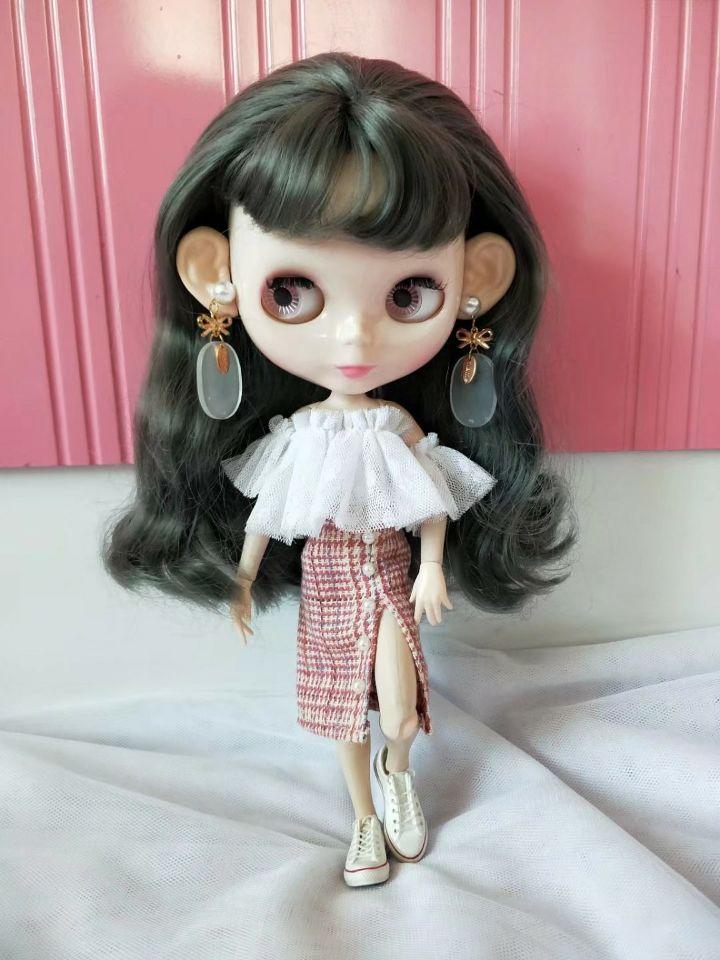 Blythes muñeca de moda va con un corpiño de gasa top + plisado breech wrap skirt traje Vestido 2 piezas set 1/6 tamaño muñeca Accesorios