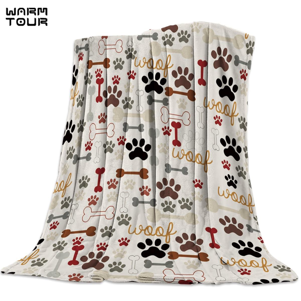 Dibujos Animados perro huellas huesos animales manta divertido impreso suave niño niña bebé Coral polar animales mantas cálido sofá cama sábanas