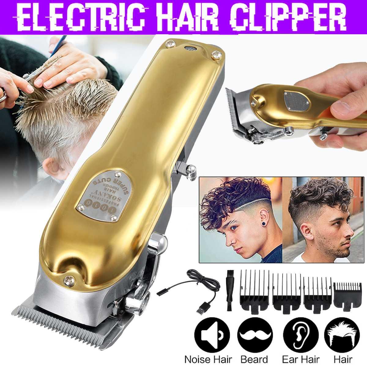 Профессиональный триммер для волос, перезаряжаемая электрическая машинка для стрижки волос, Мужская Беспроводная стрижка, регулируемое ке...