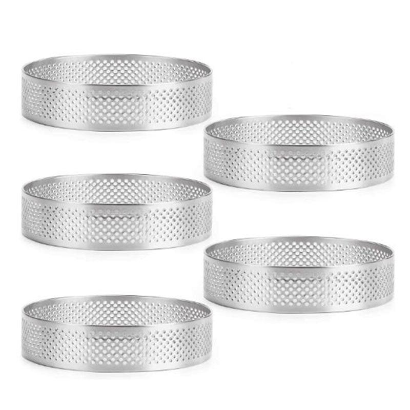 5 Pcs Circular Porous Tart Ring Bottom Tower Pie Cake Mould Baking Tools Heat-Resistant Perforated Cake Mousse Ring, 8cm