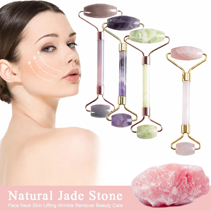 Jade Stone Rollers Massager For Face Pink Rose Quartz Natural Stone Slimming Chin Lift Up Facial Beauty Roller Skin Care Tools
