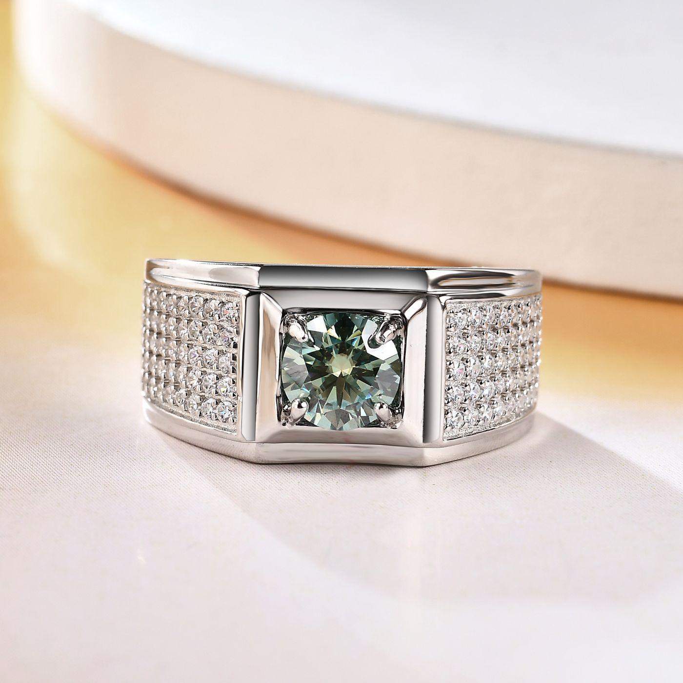 Мужские серебряные кольца с муассанитом, 1 карат