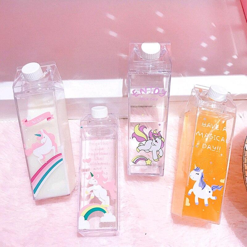 Mini botellas de agua únicas con forma de caja de leche botella de bebida de unicornio rosa de dibujos animados de plástico transparente botella de café cerveza