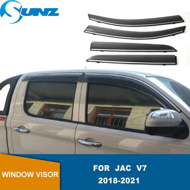 Side Window Deflector For JAC V7 2018 2019 2020 2021 4pcs Chrome Trim Window Visors Weathershields Wind Rain Guards SUNZ