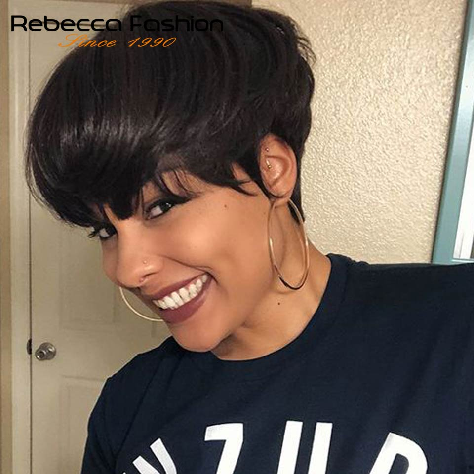 Rebecca Short Straight Wig With Bangs Pixie Cut Brazilian Human Hair Wigs Full Manchine Cheap Red Brown Wig For Women Summer Wig