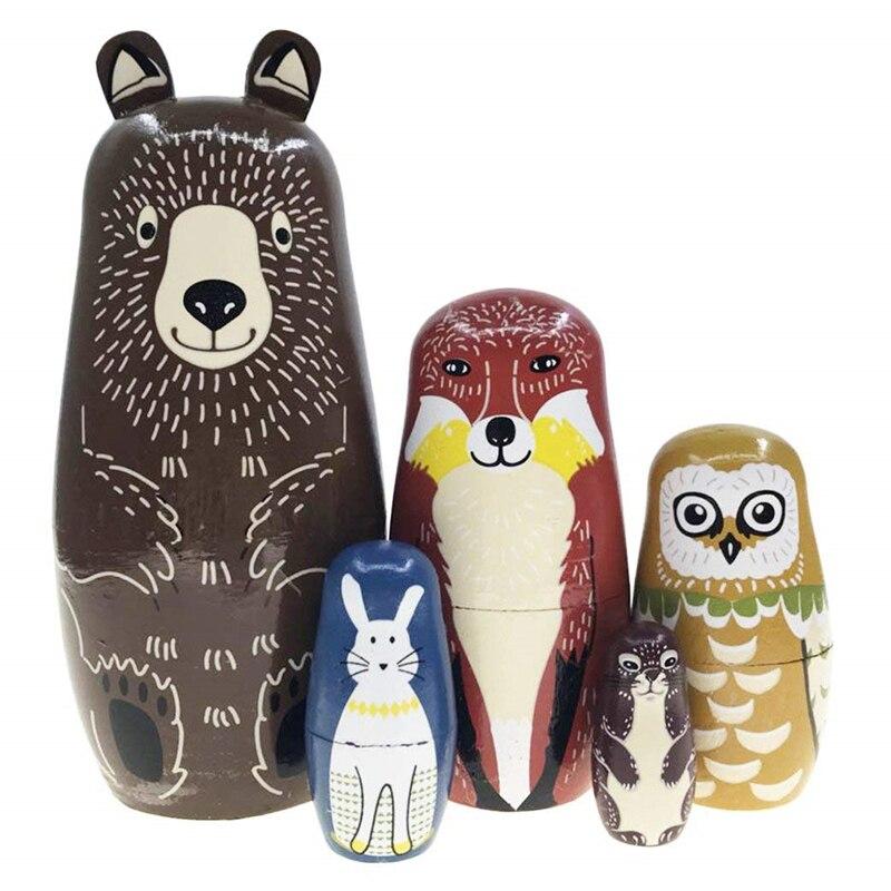 5 Pçs/set Urso Coelho Padrão Da Coruja De Madeira Bonecas Do Assentamento Do Russo de Matryoshka Bonecas Animal Bonito Design Do Bebê História Toy Presente Acessório