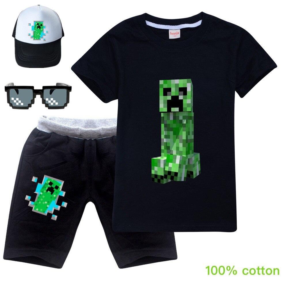 O novo casual crianças roupas minecrafting roupas verde legal menino camiseta + shorts roupas meninos agasalho crianças roupas da menina