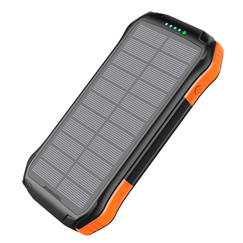 16000mah المحمولة بنك الطاقة الشمسية سريع تشى شاحن لاسلكي آيفون سامسونج powerbank بطارية خارجية led مصباح يدوي