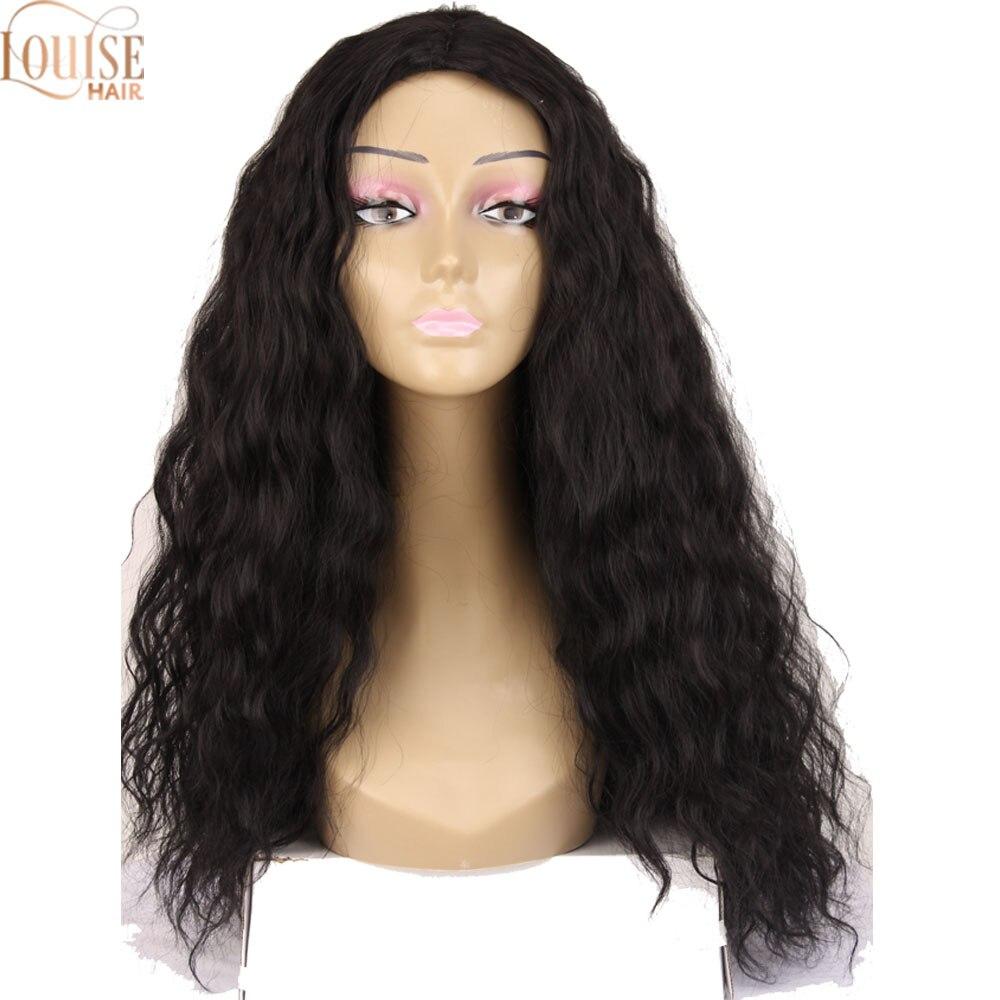 Louise cabelo 24 polegadas longo kinky encaracolado profunda tecer onda solta onda de água perucas preto cosplay festa peruca para preto