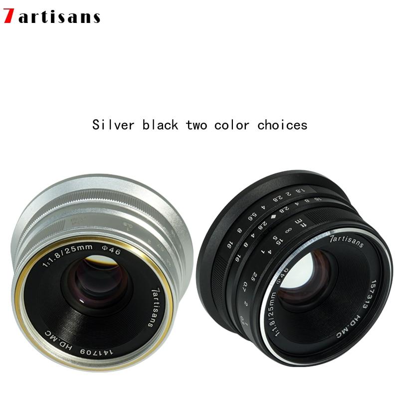 7 artesanos 25mm f1.8 retrato de primer lente APS-C enfoque Manual para Olympus Panasonic M4/3 montaje Canon FUJI Sony E montaje A7 A7R III
