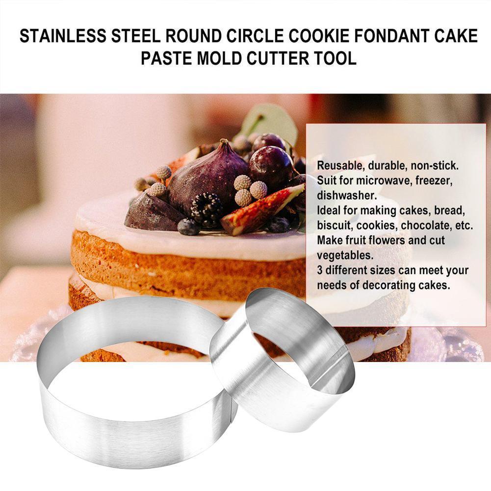 3 sztuk/zestaw pierścienie mus ze stali nierdzewnej foremka do wykrawania ciasteczek kremówka okrągła forma Cutter Jelly pieczenia kształt narzędzia kuchenne Cookie Big Ca D7S6