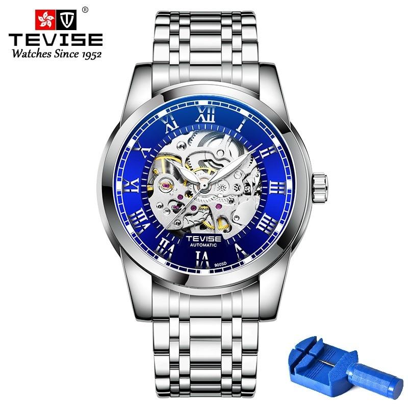 TEVISE-ساعة رجالية أوتوماتيكية T9005D ، يد مضيئة ، ميكانيكية ، مقاومة للماء ، وجه أزرق ، أداة صندوق الشحن ، 2020