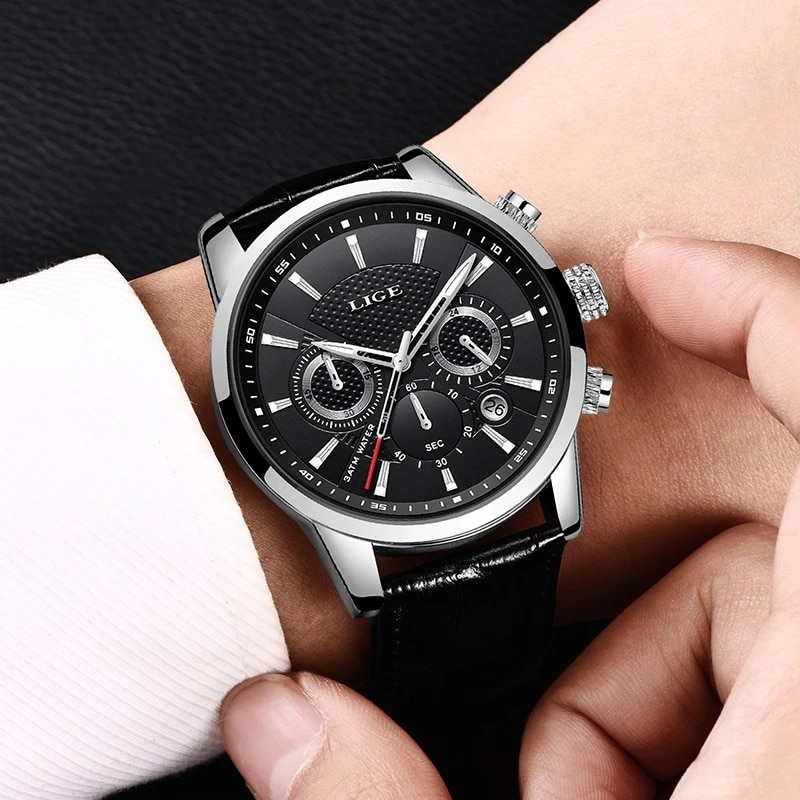 2021 New Mens Watches LIGE Top Brand Luxury Leather Casual Quartz Watch Men Sport Waterproof Clock Black Watch Relogio Masculino enlarge