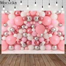 Nouveau-né anniversaire rose ballon toile de fond ballon mur enfant Portrait gâteau Smash photographie fond décor accessoires Photo Studio
