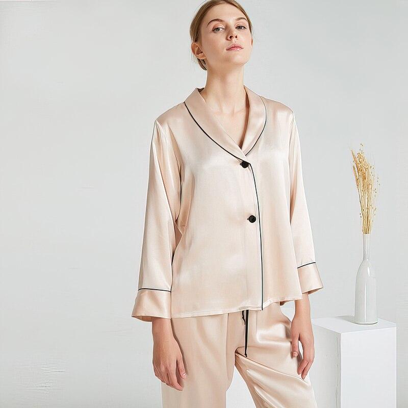 Maison Gabrielle 2021 New Summer Luxury Silk Charmeuse 19mm Pajamas Set 100% Mulberry Silk 2Pcs Longsleeve Loungewear Sleepwear