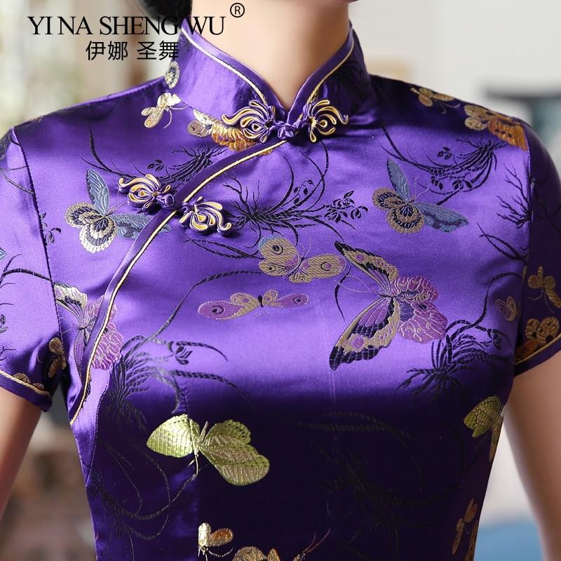 Chinese Traditional Costume Long Section qipao Elegant Short Sleeved Retro Tang Suit Cheongsam Woman Wenhua Collar Slim Dress