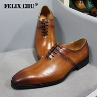 dropshipping size 6 to 13 mens dress oxford shoes genuine leather handmade brown lace up pointed toe male business formal shoes