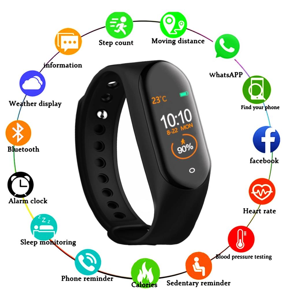 M4 reloj de pulsera inteligente pulsera rastreador de Fitness Color táctil deporte ritmo cardíaco Monitor de presión arterial hombres mujeres Android