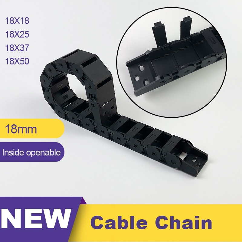 18x18 18x25 18x37 18x50 Plastic  Chain Towline Cable Chain Drag Chain L 1 m 18*18 18*25 18*37 18*50 1 meter 7 7mm 10 10mm cable drag chain for 3d printer transmission drag chain plastic router machine tools 3d printer part