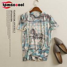 Tpmaccool Summer 2020 luxury desugner vintage Print Women T-shirt Short Sleeve round Neck Color cotton Pullover tshirt S-3XL top