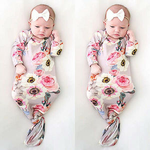 Newborn Baby Girl Floral Sleeping Bag Sleep Sack Wrap Swaddle+Headband 0-6M baby kids boy girl warm sleepbag