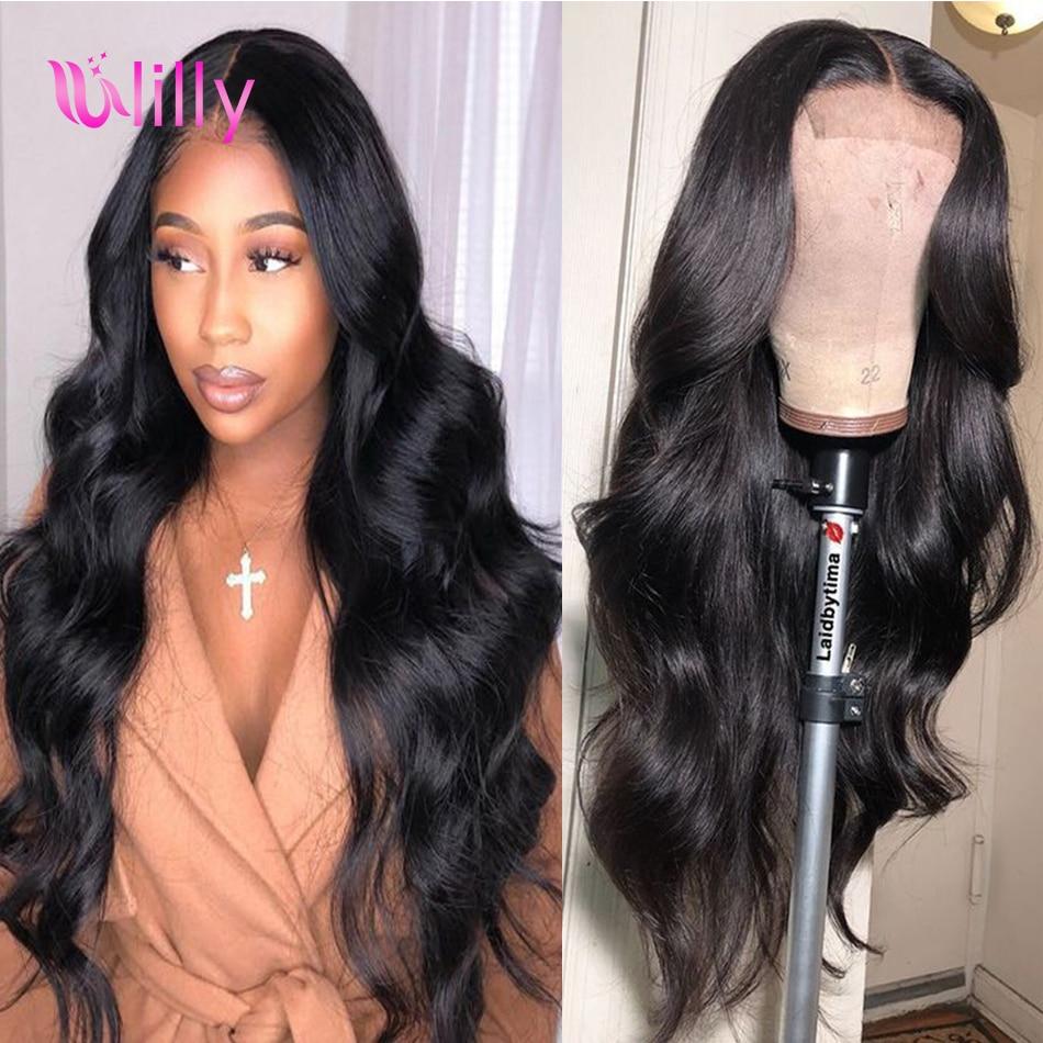 Peluca con cierre de encaje ULilly 4x4, pelucas de cabello humano malasio ondulado para mujeres, precortado cabello Natural, cabello Perruque cheveux humain
