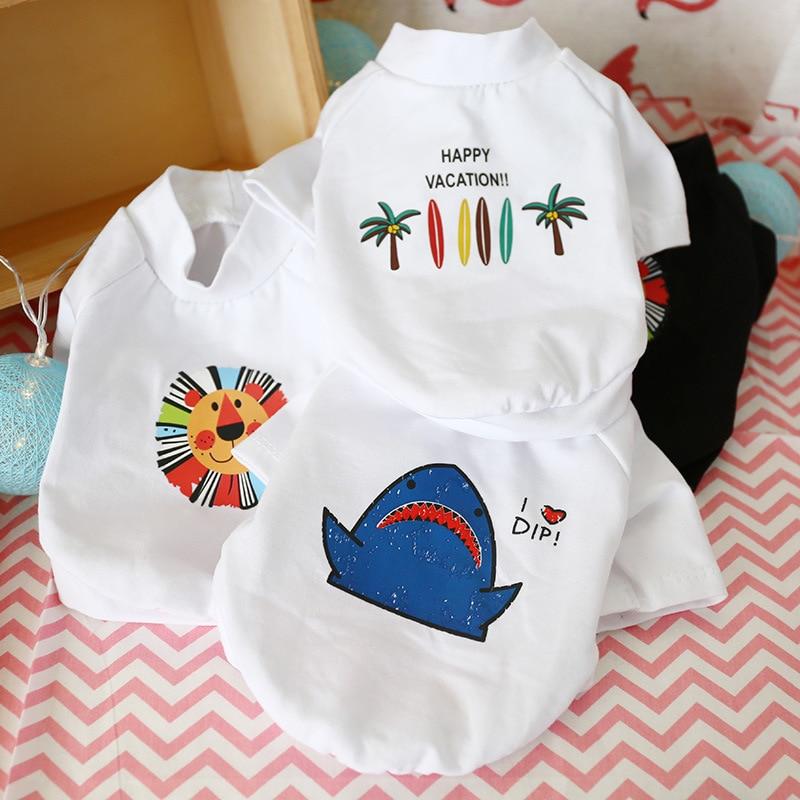 Ropa para perros Teddy Pomeranian primavera y verano Delgado fresco blanco y negro camiseta de marca Popular ropa transpirable gato cachorro