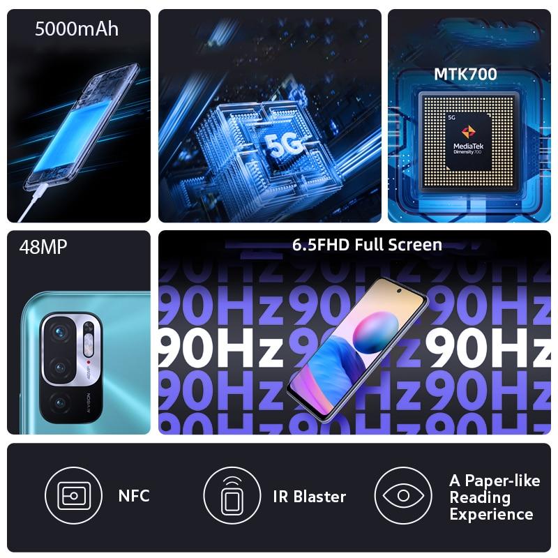 Global Version Xiaomi Mi Redmi Note 10 5G Smartphone 6GB+128GB MTK 700 CPU 48 MP Pixels 5000mAH Battery 6.5