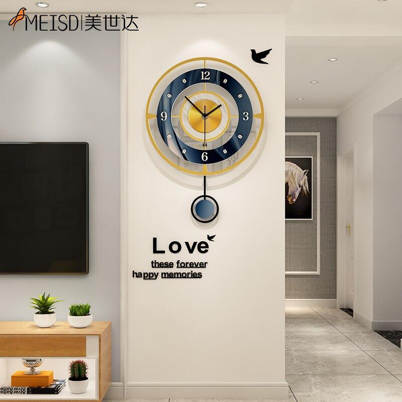 MEISD Creative Wall Clock Modern Design Watch Pendulum Home Interiors Living Room Decoration Quartz Silent Horloge Free Shipping