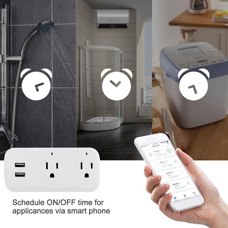 ذكي التوصيل المخرج APP التحكم مقبس الحائط المخرج المتوسع مع 2 مأخذ كهربائي 2 منفذ USB 100-240 فولت للمنزل النوم