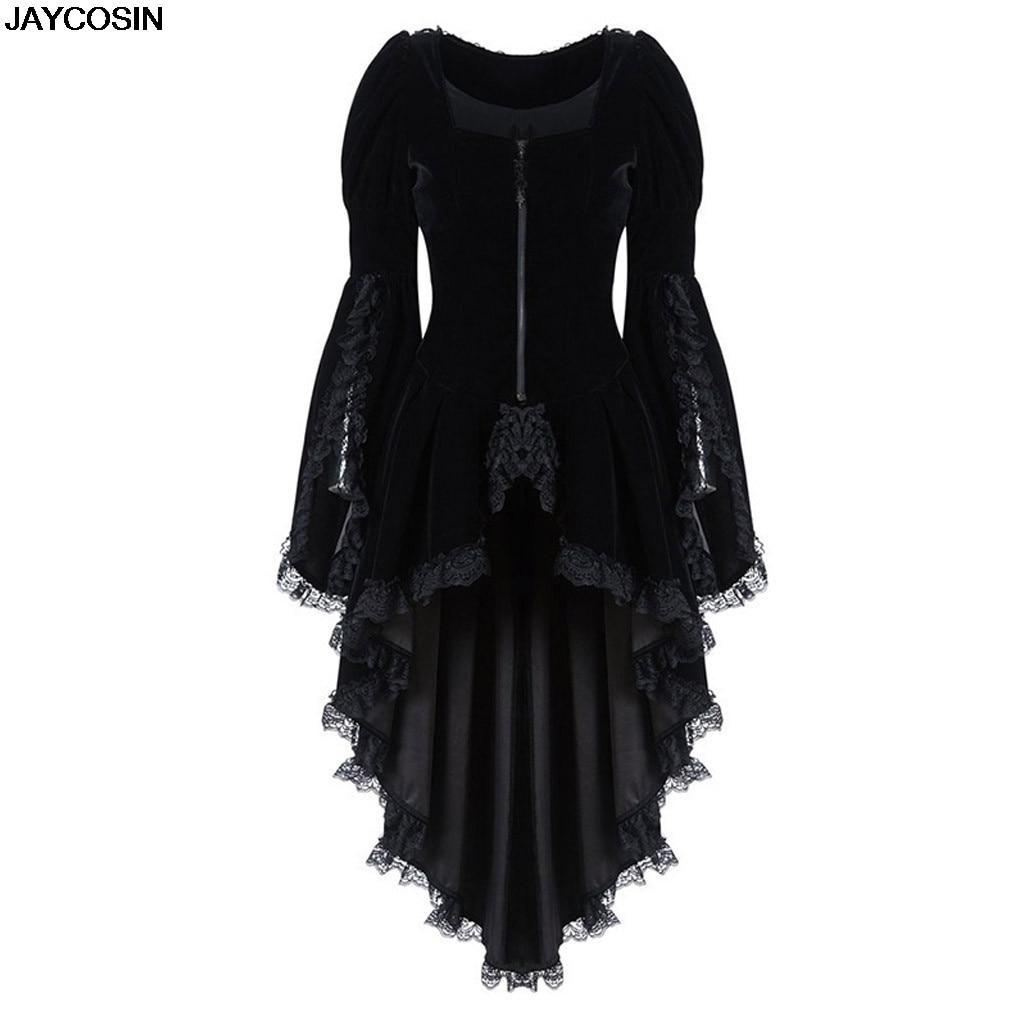 Jaycosin moda feminina gótico manga comprida rendas costura veludo smoking jaqueta medieval aristocrática senhoras vampiro cosplay 9801
