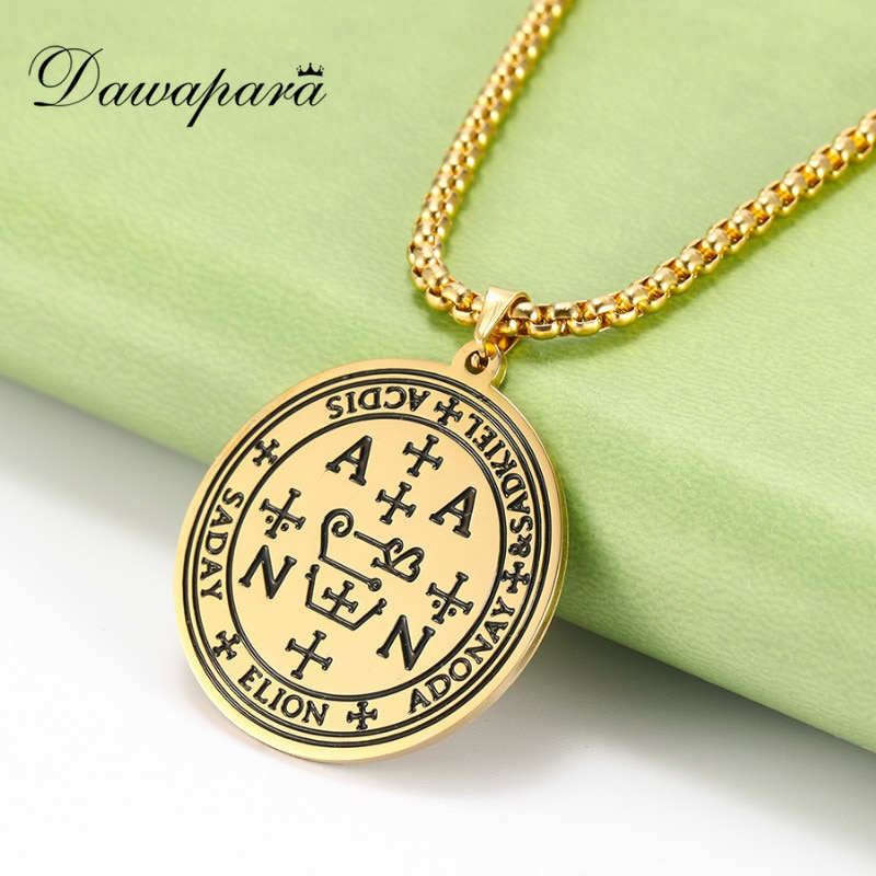 Dawapara Archangels Zadkiel Pendant Necklace Righteousness of God Benevolence Mercy Stainless Steel Jewelry Men Nacklaces