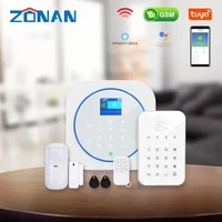 Zonan Alarm Security System Tuya Wifi Wireless Touch Keypad GSM RFID Card Keypad App Control Burglar Fire Alarm Smart Home Kits