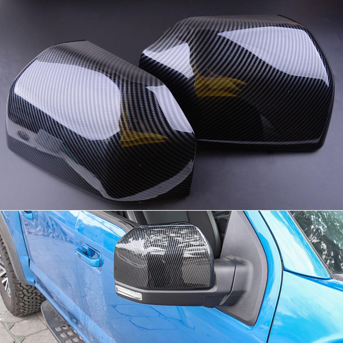 CITALL nueva fibra de carbono ABS 1 par espejo retrovisor del coche cubierta ajuste para Ford F150 2015 2016 2017 2018 2019 XL XLT