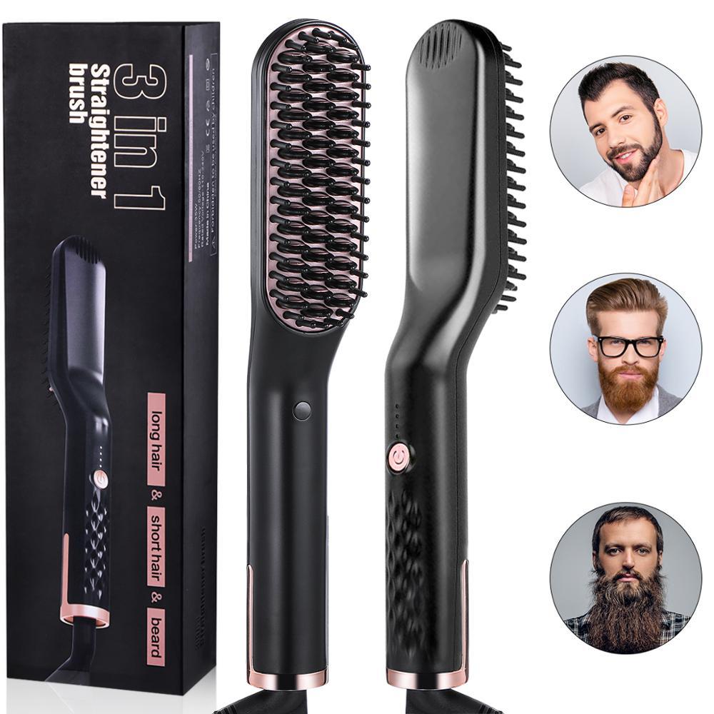Peine de hierro Liaboe 3 en 1 de estilo profesional de calentamiento rápido para el pelo de la barba, rizador multifuncional portátil de cerámica