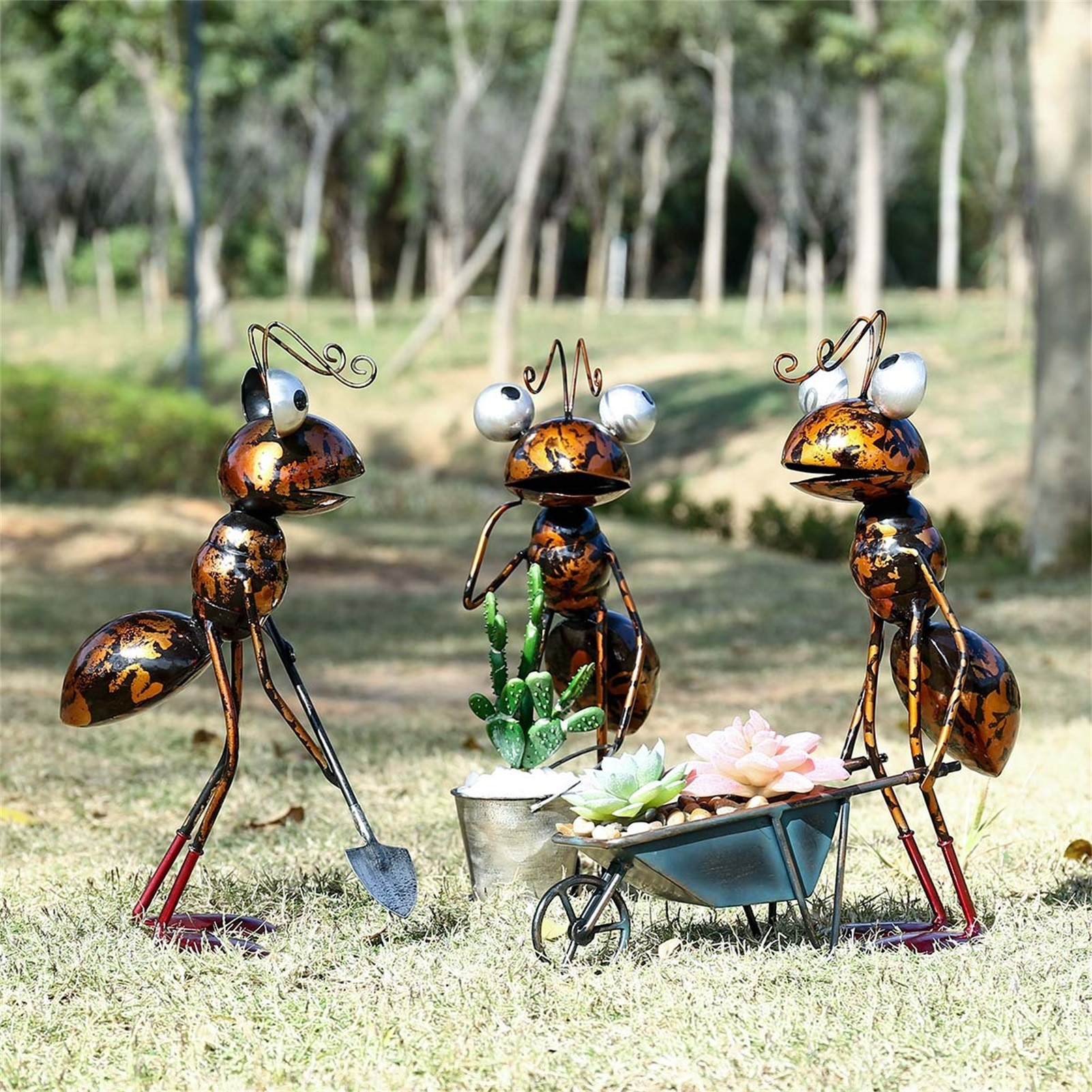 Metal Ant Garden Decor Sculpture Home Patio Lawn Yard Indoor Outdoor Statue Ornament With Removable Bucket