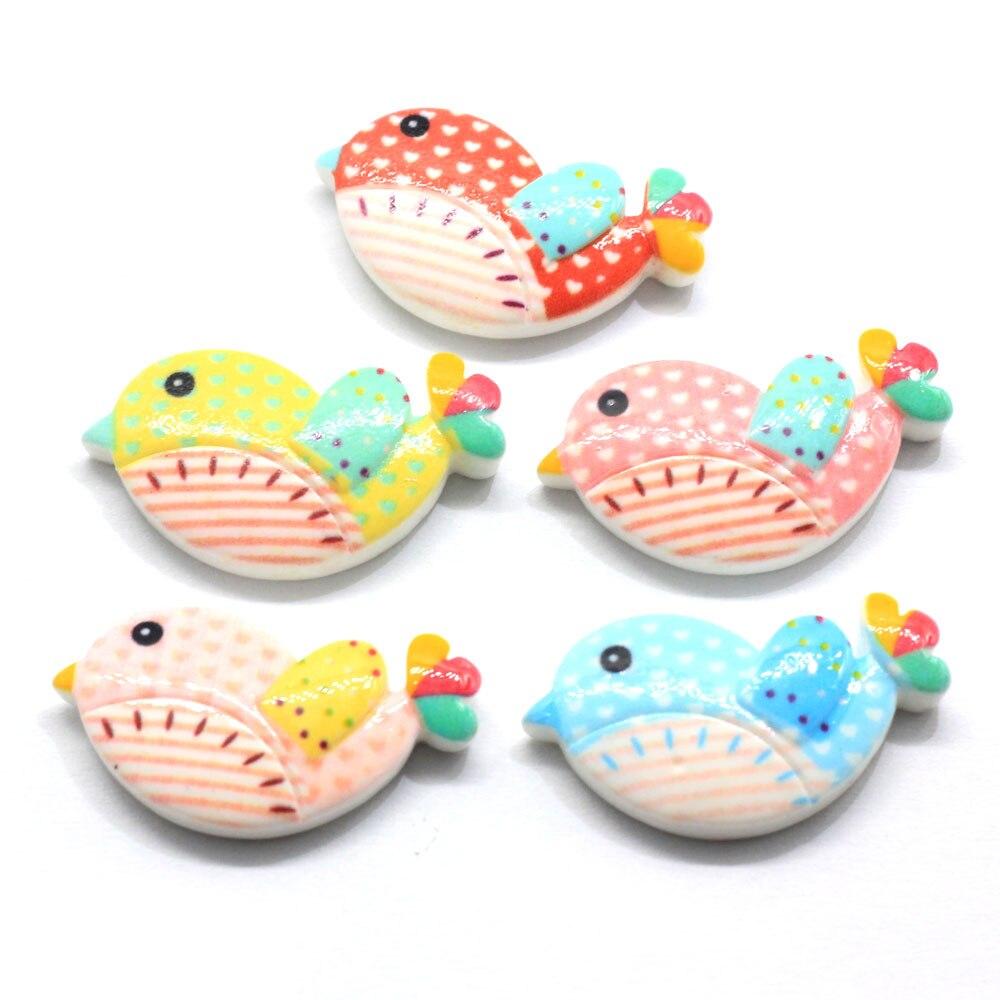 50/100 Uds lindo DIY pájaro de resina encantos Kawaii Flatback cabujón resina manualidades fabricación de joyas ornamento Scrapbooking hallazgos