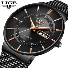 Mens Watches LIGE Top Brand Luxury Waterproof Ultra Thin Date Clock Male Steel Strap Casual Quartz W