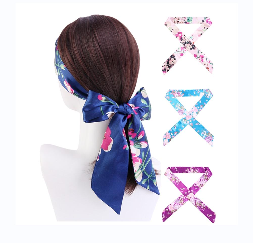New Flower Printing Satin Ribbon Belt For Women Multifuction Headband Hair Tie Scarf Eye Cover Hair Scarf Fashion Belt