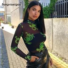 Bangniweigou Dragon Print Sheer Mesh Bodysuit Overalls Vrouwen Mock Hals Lange Mouwen Sexy Transparante Sportief Slim Rompertjes